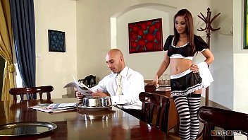 horny maid delivers his index of porn food and seduces him to fuck her