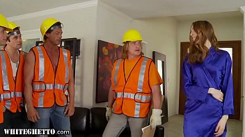 xxx  film series  whiteghetto horny housewife gangbanged by construction workers