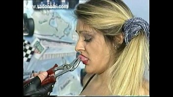 scared milf slave got pulled on her nipples and pussy lips with a raped by black cock piers by masked master