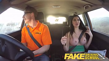 fake driving school busty examiner passes excitable art of zoo young man on his test