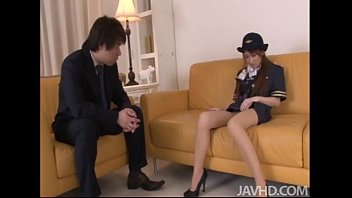 cute and pornbiz horny yuzu shiina in her airline outfit fingers her pussy on camera