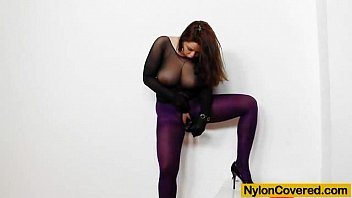 huge titties cutie in nylon usexvideo mask and full body nylon suit