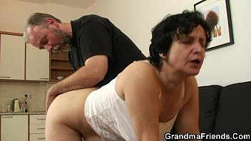 granny in white sexhub com lingerie swallowing two cocks after pussy toying