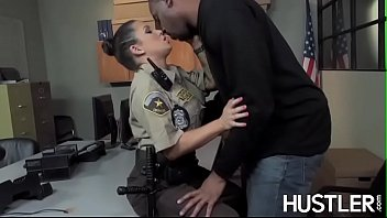 policewoman charity bangs facialized in pink dino tube office interracial