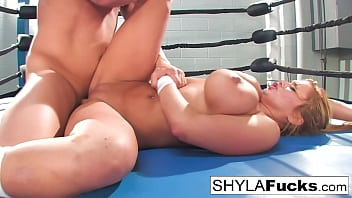 sexy shyla stylez gets some lessons on mma training but then gives bf movie a lesson