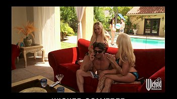 two blonde bombshells tiziana cantone video porno get horny and start hot pool side threesome