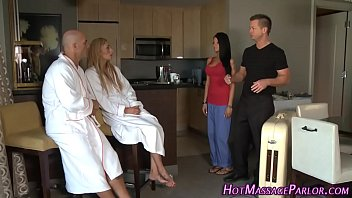a girl showing her breast masseuse facial 4some