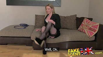 fakeagentuk stocking clad posh milf willing to try it all askjolene  com on the casting couch