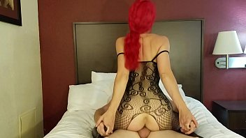 redhead pornohab rides cock in lingerie