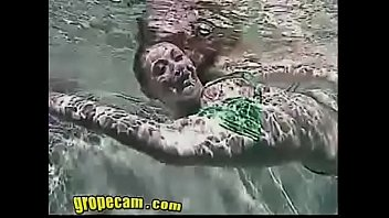 sexy young allie groped in nude cosplay girl green bikini - more of her at grope-cam.com