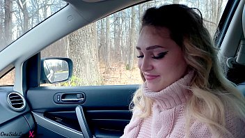 blonde deep sucks cock and xxxxvo gets cum in mouth while no one sees - in car