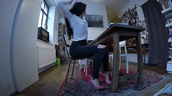 beautiful secretary works from home redxxx in jeans