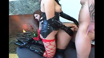 fetish babes in porncity latex and stockings share a cock