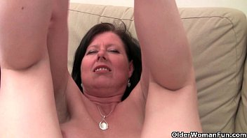 british mom julie with 7cow her big tits and hairy pussy gets finger fucked