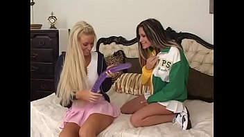 stunning www bf video player com blonde and brunette in cheerleader uniforms fuck with a long dildo in bed
