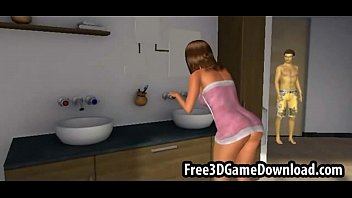 beautiful 3d cartoon babe with youizz long brown hair being touched