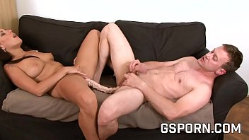 couple with femdom play sexwo double dildo and strapon