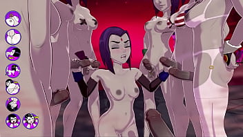 nifty stories raven gets a terrific bukkake fucks and cums with a group of futas - sexgame