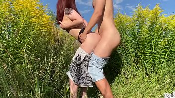 sex with russian bf sexy full wife on the field with flowers. public place kleomodel