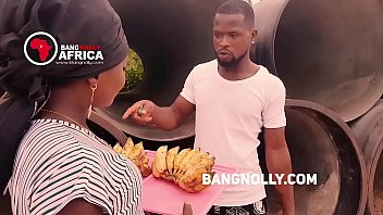 a lady adult naked women who sales banana got fucked by a buyer -while teaching him on how to eat the banana