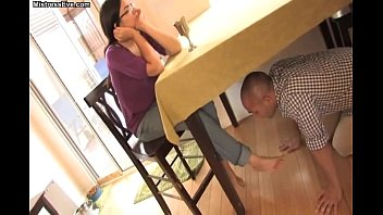sexc foot worship under the table