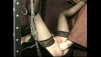 hot slave with her legs spread in a dungeon and pussy lips pierced gets fucked drunk girls having sex with a fist
