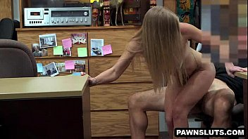 blonde sucks cock and gets girl taking off her braw fucked at the pawn shop