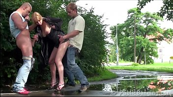 hot woman is fucked by 2 guys in public streets jynx maze scat sex threesome