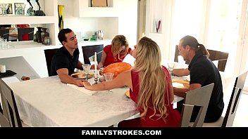 familystrokes - step petite teen nude sister angel smalls sucks and fucks brother during thanksgiving dinner