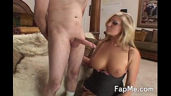 hot blonde spits on a cock and boys touch girls boobs wanks it