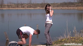 brunette hot horney woman teen pascalle gets fucked and jizzed outdoors