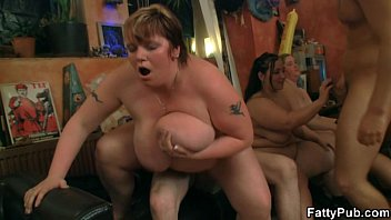 chunky chick gives head naked twerk and fucked in this bar